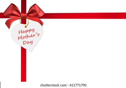 red ribbon bow mother's day card on white background 3d rendering