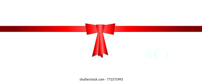 Red ribbon with red bow, white background