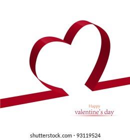 red ribbon heart.  illustration