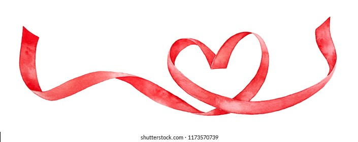 Red ribbon shaped as love heart. Hand drawn water color gradient painting on white background, cutout element for design decoration. Valentine's day card, wedding invitation, medical cardio graphic.