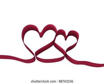 Red ribbon. Two hearts together.