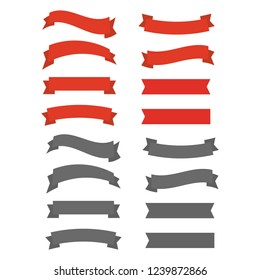 red ribbons. Ribbon banner promotion illustration.