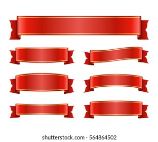 Red ribbons set. Satin blank banners collection. Design label scroll blanks element, isolated on white background. Empty template for greeting or advertising. Symbols decoration. illustration.