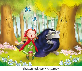 Red riding hood and the big bad wolf in the wood.