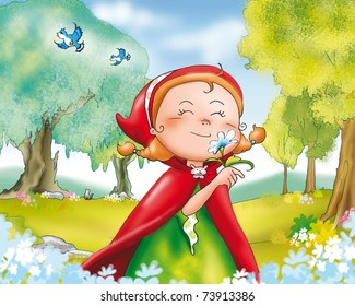 Red riding hood picking flowers in the wood.