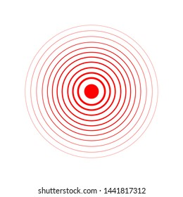 Red Rings sound wave and line in a circle. Tap symbol. Radio signal background.  template illustration abstract speed motion for your design