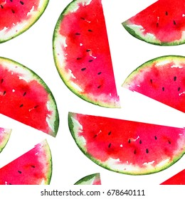 Red ripe tasty watermelon half slices isolated on white background. Seamless summer hand drawn artwork. Background for fashion textile print, sale banner, hawaiian poster, backdrop