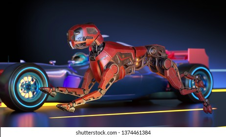 Red robot dog is racing with sport car. 3D illustration