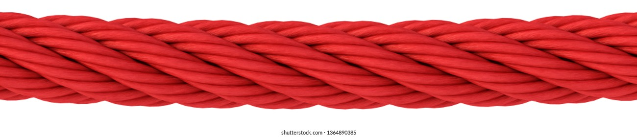 red rope on white background. 3d rendering.