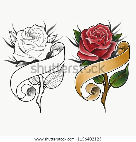 Red Rose Banner Traditional Tattoo Design Stock Illustration