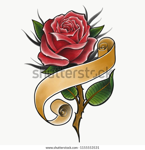 Red Rose Banner Traditional Tattoo Design Stock Illustration 1155553531