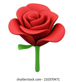 Red rose flower, 3d illustration
