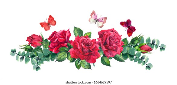 Red rose flowers, eucalyptus leaves and butterflies. Watercolor border for Valentine day, wedding card