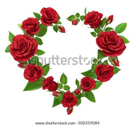 Red Rose Frame Shape Heart Isolated Stock Illustration 500359084 ...