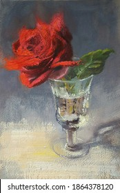 Red rose in a glass, original artwork, oil on canvas painting