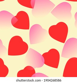 red and rose hearts at yellow background. hearts texture. hearts background