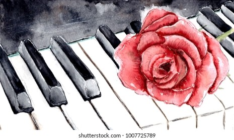 Red rose on the piano. Watercolor flower.