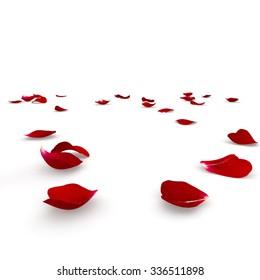 Red rose petals scattered on the floor. 3D render