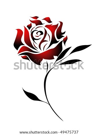 Red Rose Tattoo Design Path Stock Illustration Royalty Free Stock