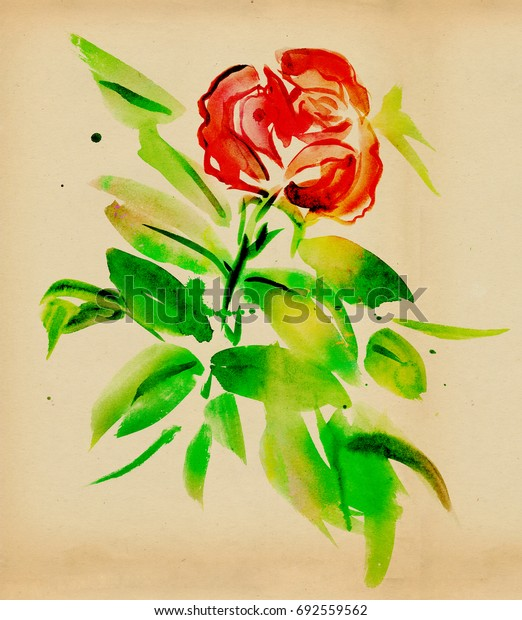 Red roses with green leaves painted paints on a white background
