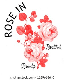 Red roses and leaves with around black texts design. JPEG format.