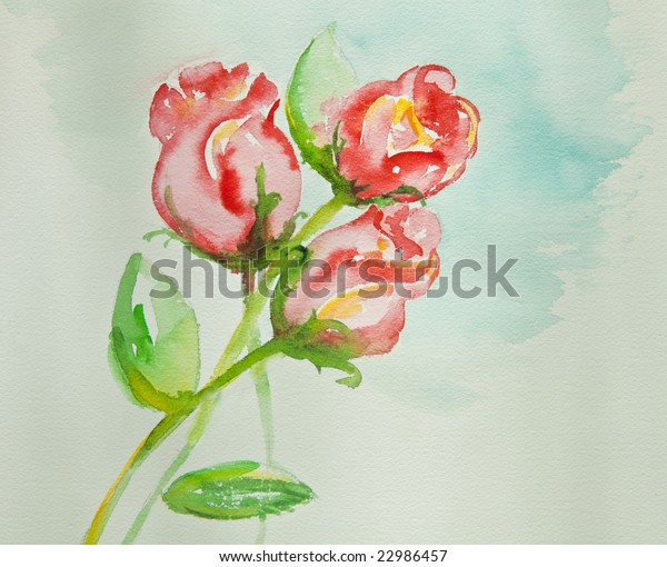 Red roses. My handmade watercolor artistic fast sketch