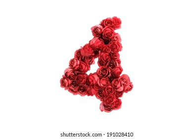 Red roses symbol 4 isolated on white background
