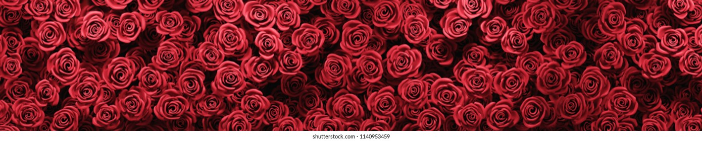Red roses wallpaper background. Love and Valentine's day or wedding celebration concept. 3D illustration