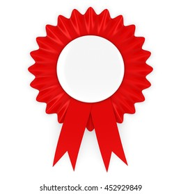 Red Rosette with Blank White Badge 3D Illustration