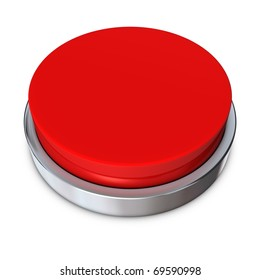 red round push button bordered by a metallic ring - design template