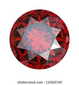 Red round shaped garnet isolated on white background. Gemstone