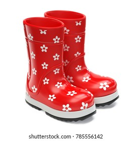 Red rubber girlie rain boots with flower print isolated on white background 3d rendering