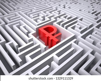 red rublee symbol in the centre of labyrinth, 3d illustration
