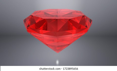 Red Ruby diamond  placed on gray background. 3D render