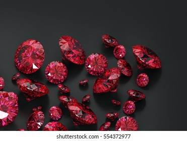 Red Ruby diamonds placed on black background, 3d