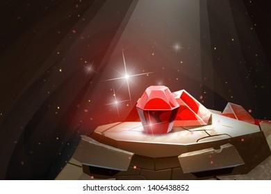 Red ruby gem  on golem head