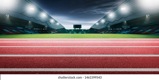 Red running tracks in a stadium. 3D Rendering