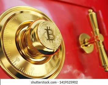 Red safe deposit box. Conceptual image with golden Bitcoin symbol on the handle. 3D illustration