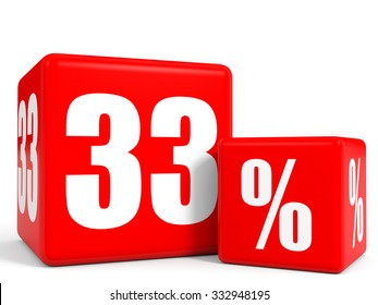 Red sale cubes. Thirty three percent discount. 3D illustration.