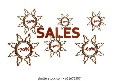 Red Sales design with discount numbers inside golden suns with white background 3D