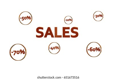 Red Sales design with discount numbers inside golden circles with white background 3D