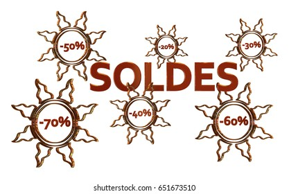 Red Sales design in french with discount numbers inside golden suns with white background 3D