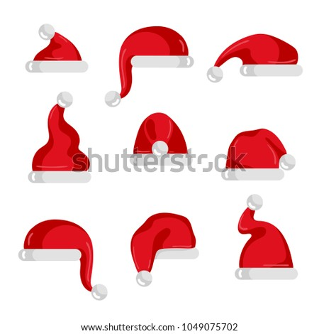 7403c11d458 Red Santa Claus hat collection. Christmas element isolated on white  background illustration. Santa hat