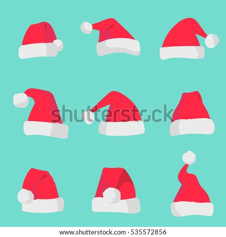 c08e415c225 Red Santa Claus hats isolated on colorful background. Symbol of Christmas  holiday. Graphic illustration