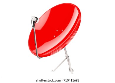 Red Satellite Dish, 3D rendering isolated on white background
