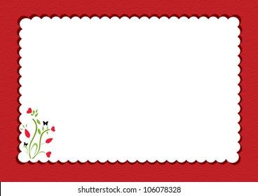 red scalloped  notepad framed with floral design inside