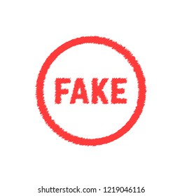 red scribble fake sign. concept of forgery, falsehood, falseness, fraudulent, untruth, frustration, not truth, forgery. flat style trend modern logotype design illustration on white background
