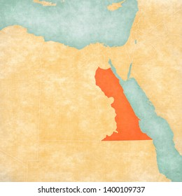 Red Sea Governorate on the map of Egypt in soft grunge and vintage style, like old paper with watercolor painting.