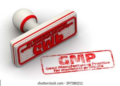 """Red seal and imprint """"GMP. Good Manufacturing Practice for medicinal products"""" on a white surface. 3D illustration. Isolated"""