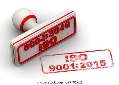 "Red seal and imprint ""ISO 9001:2015"" on white surface"